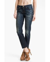 Juicy Couture | Blue Straight Slouchy Embellished Jeans | Lyst
