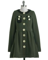 ModCloth | Green A Thrill in The Air Coat | Lyst