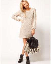 ASOS Collection | Beige Asos Textured Stitch Jumper Dress | Lyst