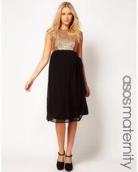 ASOS Metallic Midi Dress in Sequin and Chiffon