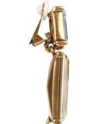 Oscar de la Renta | Multicolor 24karat Gold Plated Swarovski Crystal Clip Earrings | Lyst
