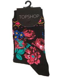 TOPSHOP - Black Floral Aztec Ankle Socks - Lyst