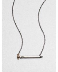 A.L.C. | Metallic Heartshaped Nail Necklace | Lyst