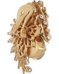 Bijoux Heart - Green Trellis Goldplated Swarovski Crystal Clip Earrings - Lyst