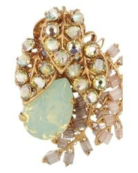 Bijoux Heart - Green Trellis Goldplated Swarovski Crystal Clip Earrings - Lyst