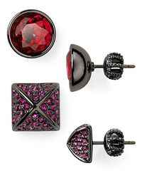 Juicy Couture - Red Glam Rocks Set Of Two Gemstone Stud Earrings - Lyst