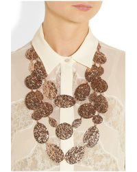 Oscar de la Renta - Metallic Scalloped Web Crystal Collar Necklace - Lyst