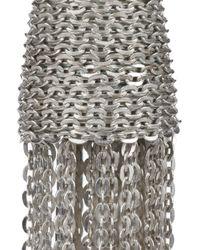 Oscar de la Renta - Metallic Silver Tone Chain Tassel Clip Earrings - Lyst