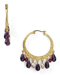 Ralph Lauren - Purple Dangling Bead Textured Hoop Earrings - Lyst