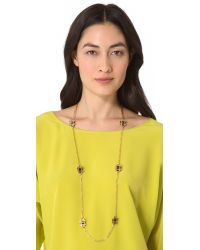 Tory Burch - Metallic Gingham Rosary Necklace - Lyst