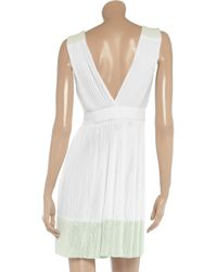 A.L.C. | White Brock Crepe And Plissé-chiffon Maxi Dress | Lyst