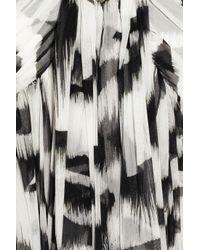 Alexander McQueen - Black White Tiger Printed Silk-chiffon Gown - Lyst