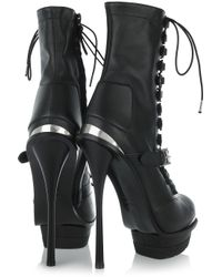 Alexander McQueen   Black Lace-up Leather Ankle Boots   Lyst