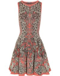 Alexander Mcqueen Flared Barnacle Intarsia Dress In Gray