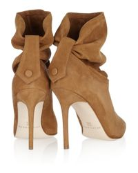 Brian Atwood - Brown Adrienne Ruched Suede Ankle Boots - Lyst