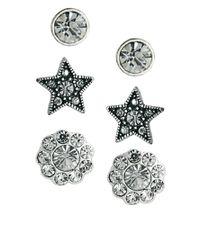 Cath Kidston - Metallic Exclusive To Asos Three Pack Earring Set - Lyst