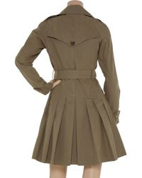 Gryphon   Green Pleated Cotton-blend Trench Coat   Lyst