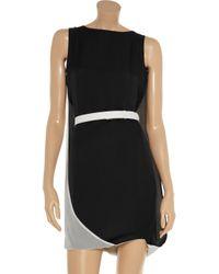 Halston Heritage | Black Cape-back Silk-chiffon Dress | Lyst