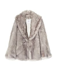 Halston - Metallic Faux Fur Coat - Lyst