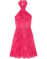 Issa | Pink Halterneck Lace Dress | Lyst
