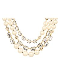 kate spade new york | Gray Party Pearl Triple Strand Necklace | Lyst