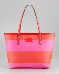 kate spade new york - Red Boutique Striped Small Harmon Bag in Vivid Snapdragon - Lyst