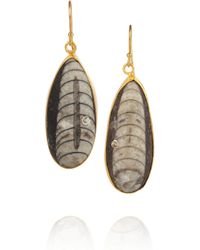Kevia - Metallic Goldvermeil Crystal and Fossil Stone Earrings - Lyst