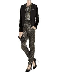 Lanvin - Gray Tapered Sequin-print Silk Pants - Lyst