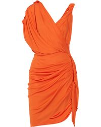 Lanvin | Orange Draped Crepe-jersey Dress | Lyst