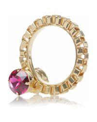Mawi - Metallic 18karat Goldplated Swarovski Crystal Bangle - Lyst