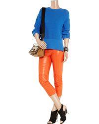 McQ | Orange Leather Skinny Biker Pants | Lyst