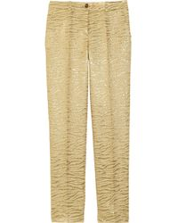 Michael Kors | Cropped Metallic Brocade-crepe Tapered Pants | Lyst