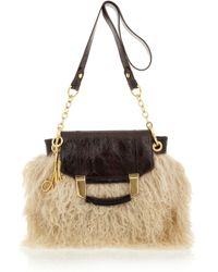 MILLY   Natural Kiki Shearling and Patent-leather Bag   Lyst