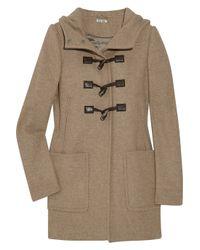 Miu Miu | Brown Hooded Wool Duffel Coat | Lyst