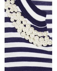 Boutique Moschino - Blue Pearl Embellished Stripey Cardigan - Lyst