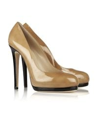 Oscar de la Renta | Natural Twotone Patentleather Pumps | Lyst
