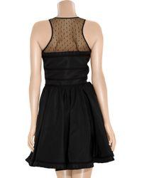 RED Valentino | Black Mesh-yoke Taffeta Dress | Lyst
