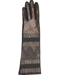 Roberto Cavalli | Silver Embellished Leather Gloves | Lyst