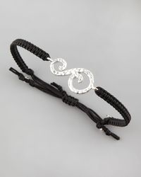 Tai | Black Hammered Initial Bracelet | Lyst