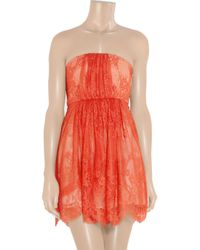 Tibi - Red Strapless Lace and Silk Dress - Lyst