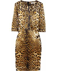 Saint Laurent | Brown Leopard Print Silk Satin Dress | Lyst