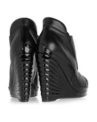 Saint Laurent - Black Leather and Patent-leather Wedge Ankle Boots - Lyst