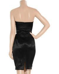 Saint Laurent - Black Silk-satin Strapless Dress - Lyst