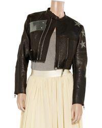 Acne | Black Stars Appliquéd Cropped Leather Biker Jacket | Lyst