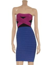 Hervé Léger | Purple Strapless Stretch Bandage Dress | Lyst