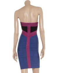 Hervé Léger - Purple Strapless Stretch Bandage Dress - Lyst