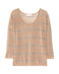 Kain | Brown Raine Striped Open-knit Linen-blend Sweater | Lyst