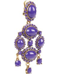 Oscar de la Renta - Blue Pear-shaped Stone Clip-on Earrings - Lyst