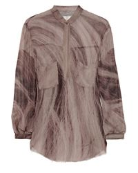 Raquel Allegra | Multicolor Hair-print Silk-georgette Blouse | Lyst