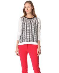 Tibi   White Sporty Mesh Intarsia Knit Sweater   Lyst